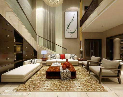 现代中式别墅客厅装修效果图大全