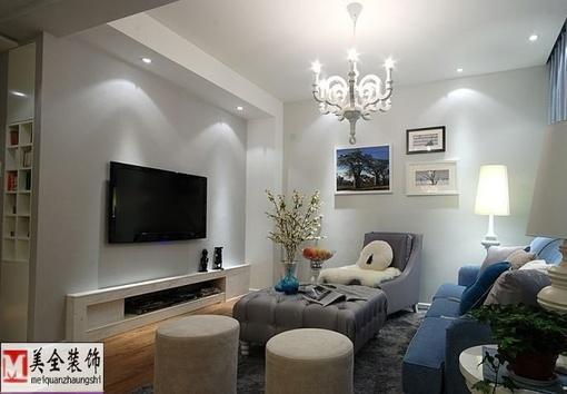 现代简约风格装修小客厅电视背景墙效果图