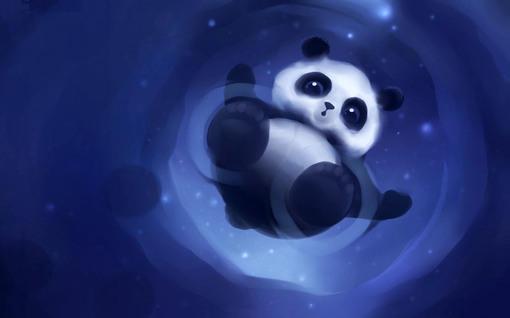 蓝色熊猫高清桌面电脑壁纸