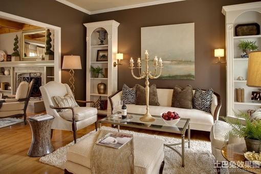 欧式客厅浅咖色墙面漆效果图