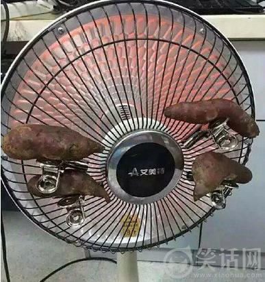 天太冷了用取暖器烤地瓜吃