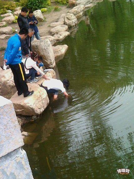 没错她不是在摸鱼,是她手机掉水里了