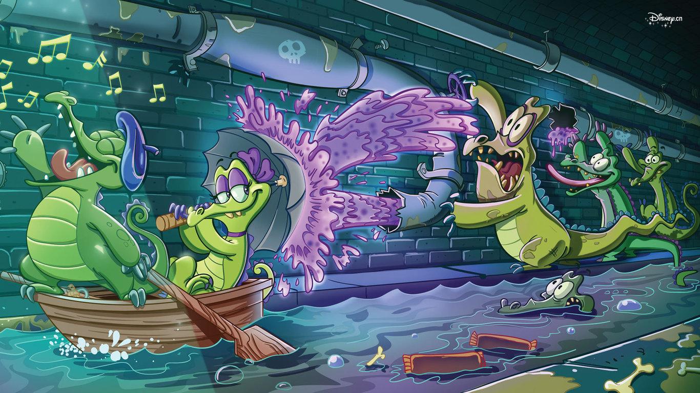 游戏桌面壁纸_鳄鱼小顽皮爱洗澡壁纸